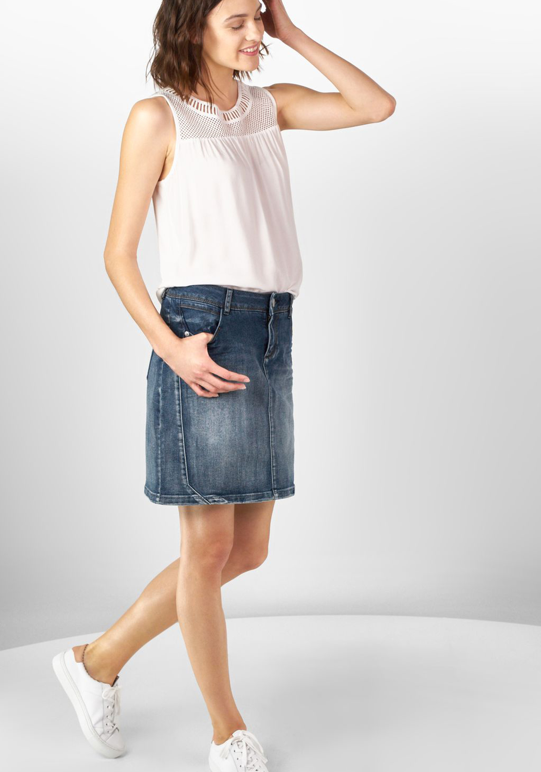 Street One Denim Knee Length Skirt, Blue