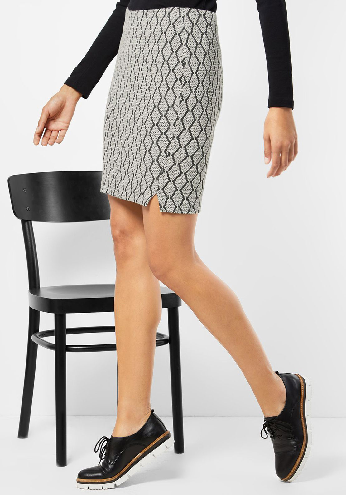 Street One Diamond Print Knit Skirt, Cream and Black