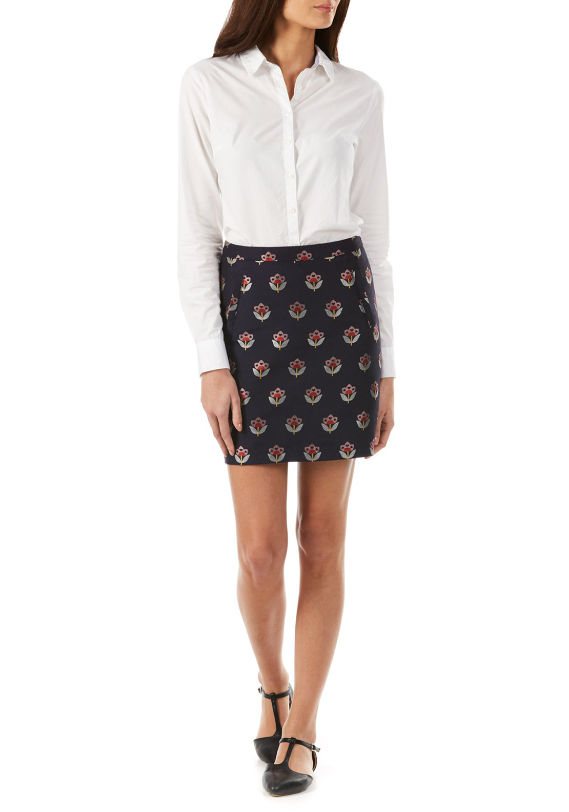 Sugarhill Boutique Evra Floral Love Skirt, Navy