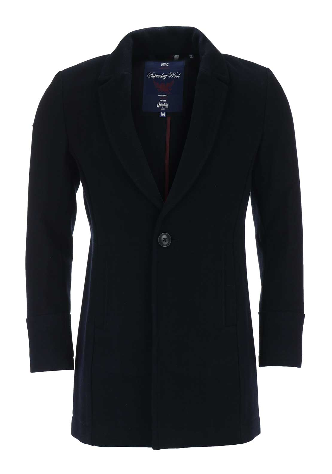 Superdry Mens Highwayman Bridge Wool Coat, Navy