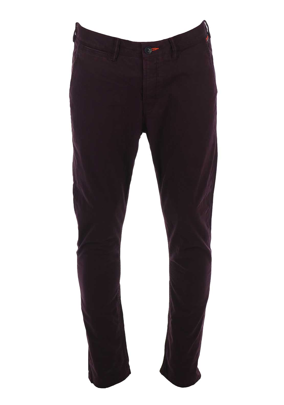 Superdry Mens Rookie Chino Trousers, Burgundy