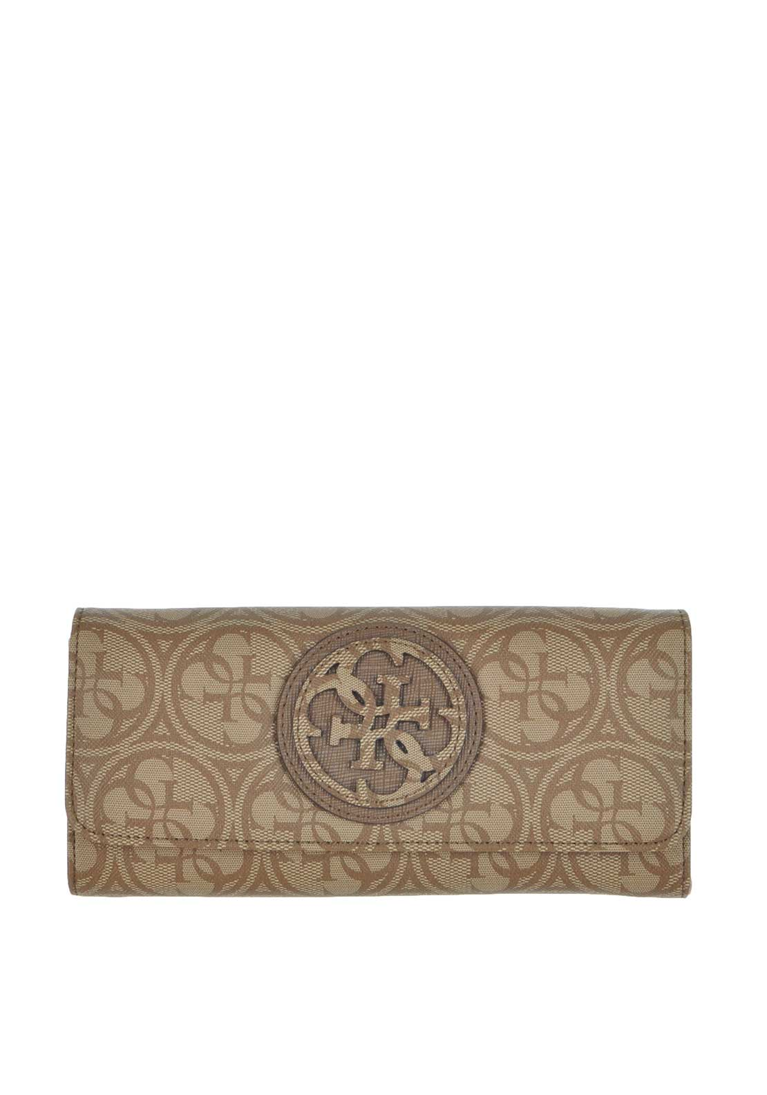 Guess Carly Large Flap Wallet, Brown