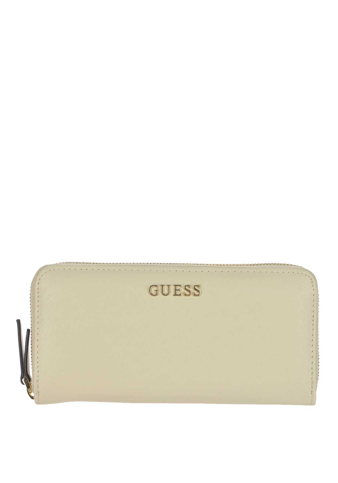 Guess Sissi Large Zip Around Wallet, White