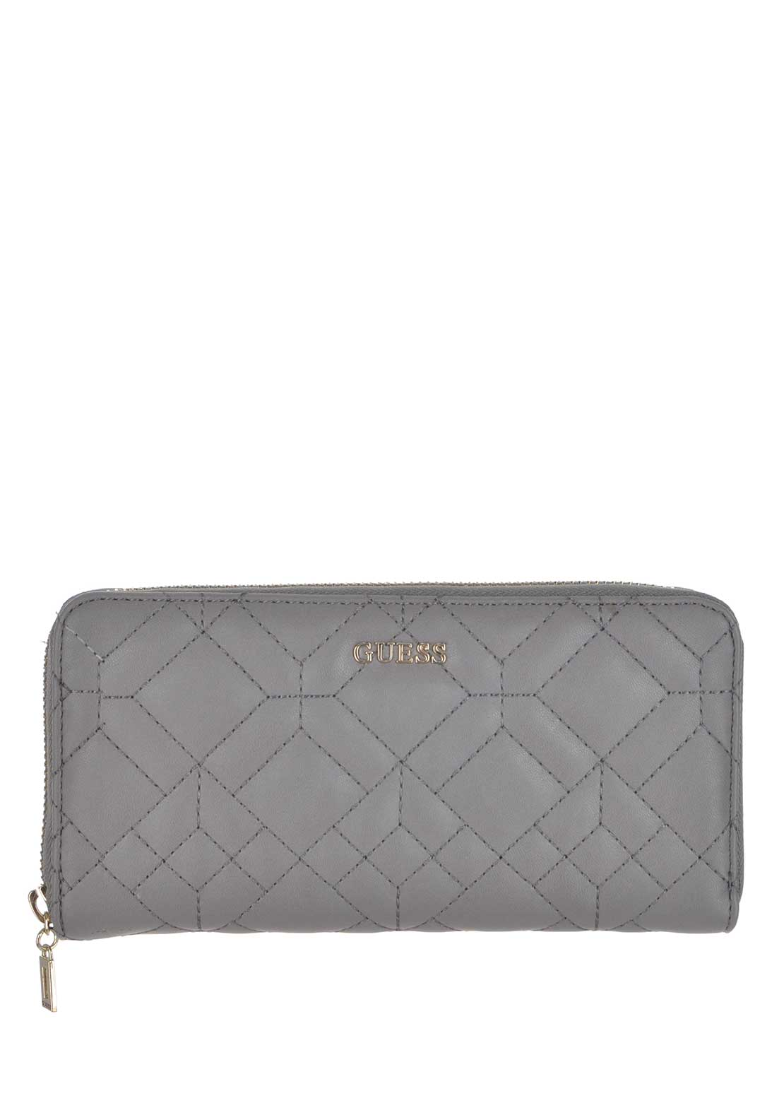 Guess Womens Ines Large Zip Around Wallet, Smoke