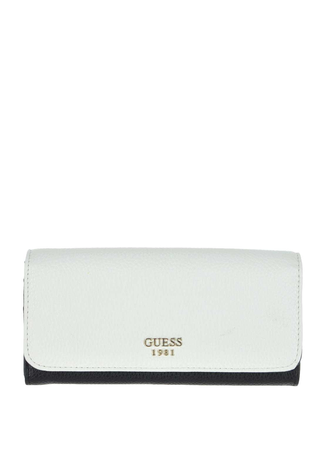 Guess Cate Large Flap Wallet, White and Black