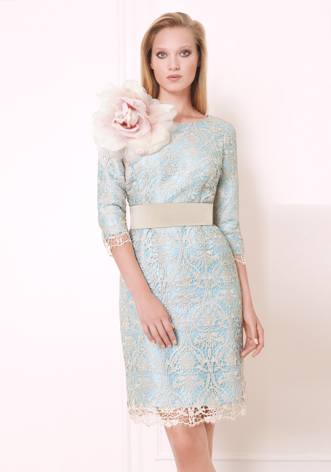 Mass by Matilda Cano Lace Overlay Dress, Blue and Champagne