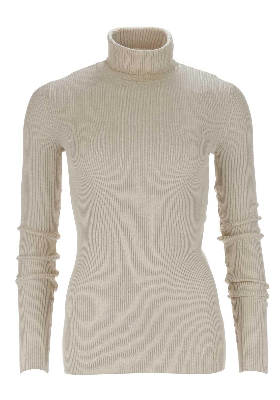 Taifun Ribbed Polo Neck Jumper, Beige