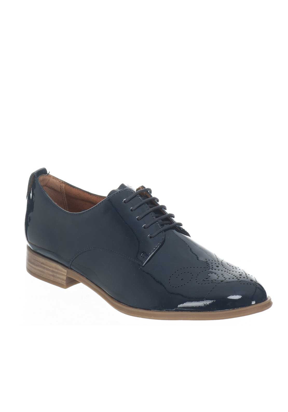 Tamaris Patent Laser Cut Laced Brogues, Navy