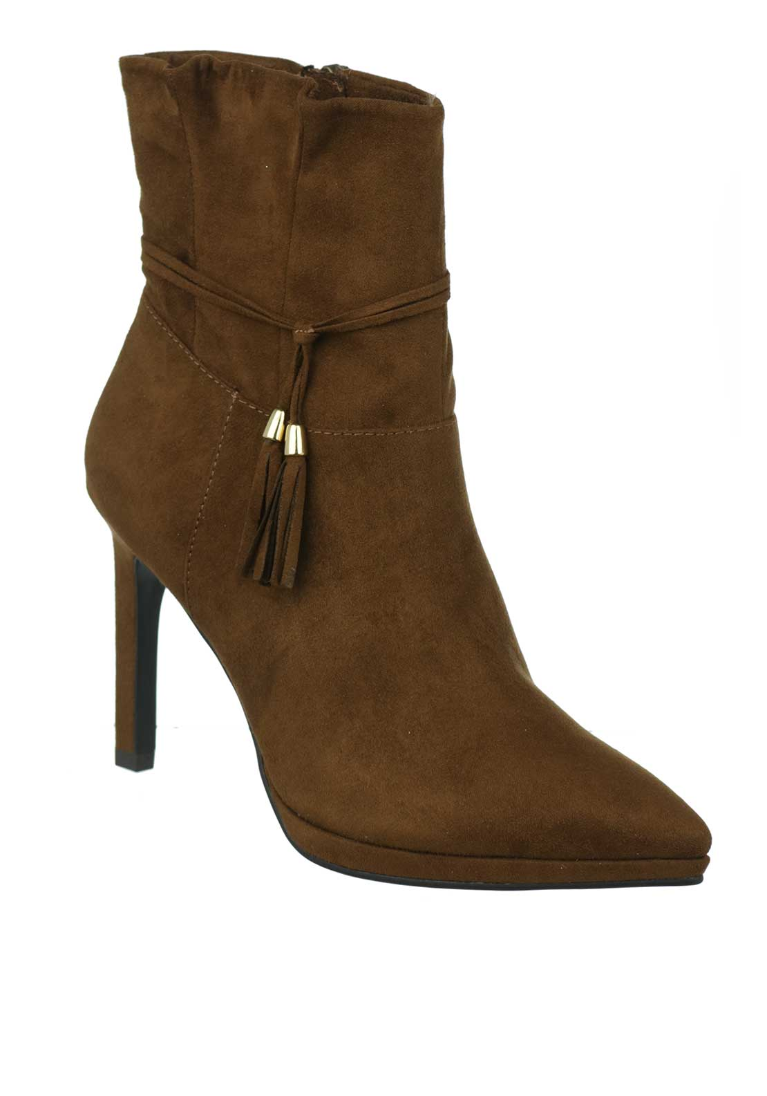 Tamaris Pointed Toe Faux Suede High Heel Ankle Boot, Brown