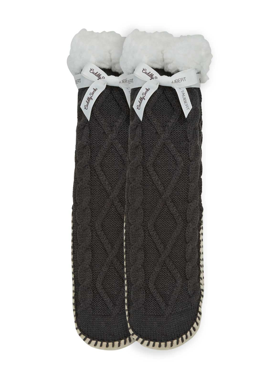 Taubert Cable Knit Slipper Socks, Charcoal