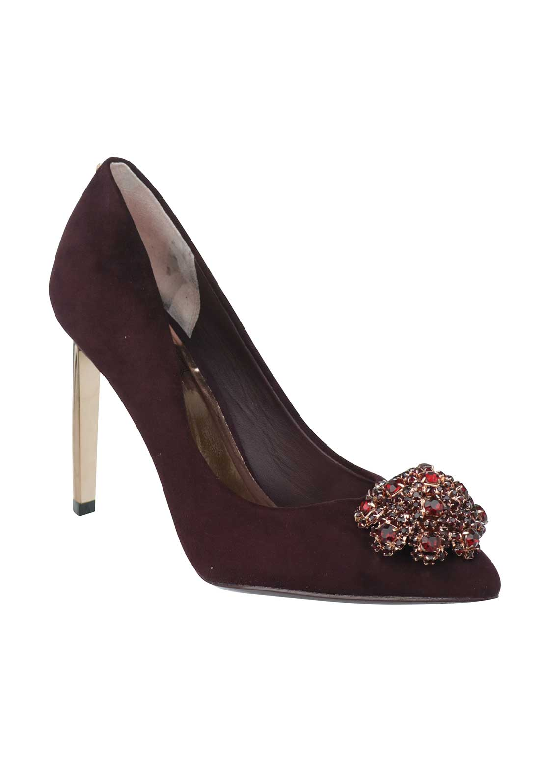 Ted Baker Womens Peetch Suede Heeled Shoes, Burgundy