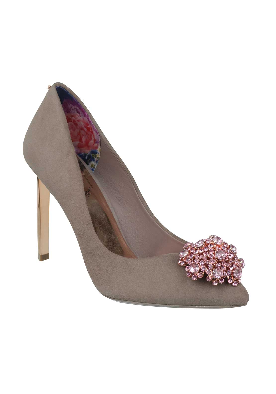 Ted Baker Womens Peetch Suede Heeled Shoes, Taupe