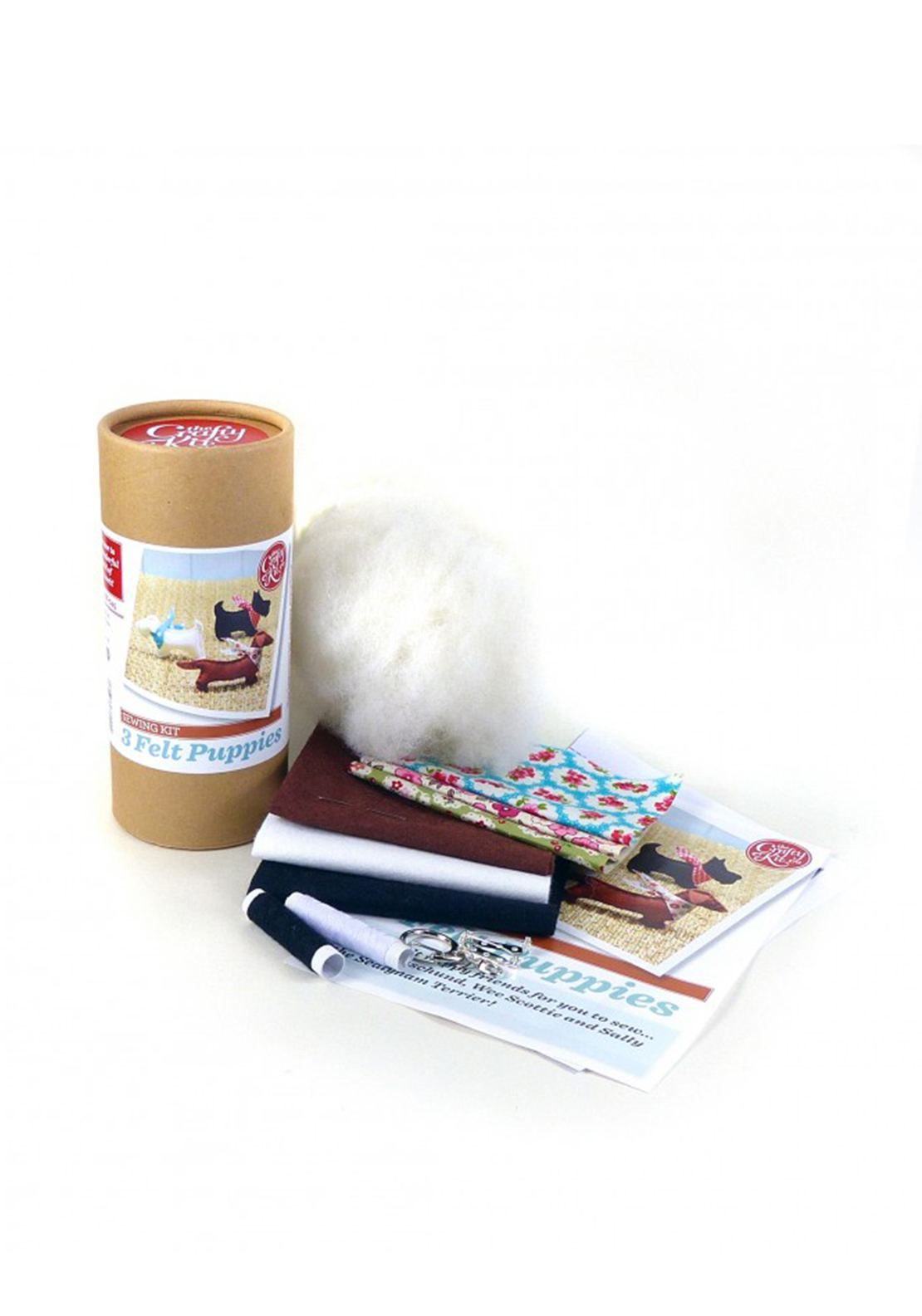 The Crafty Kit Co. Patchwork 3 Felt Puppies Sewing Kit