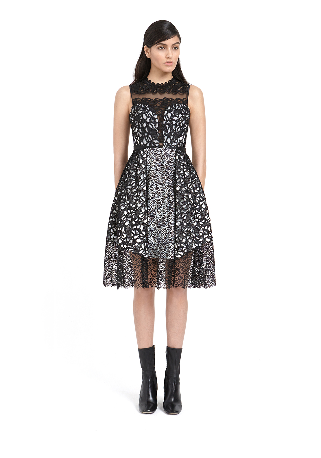 Three Floor Shard Interest Crochet Fit and Flare Dress, Black and White