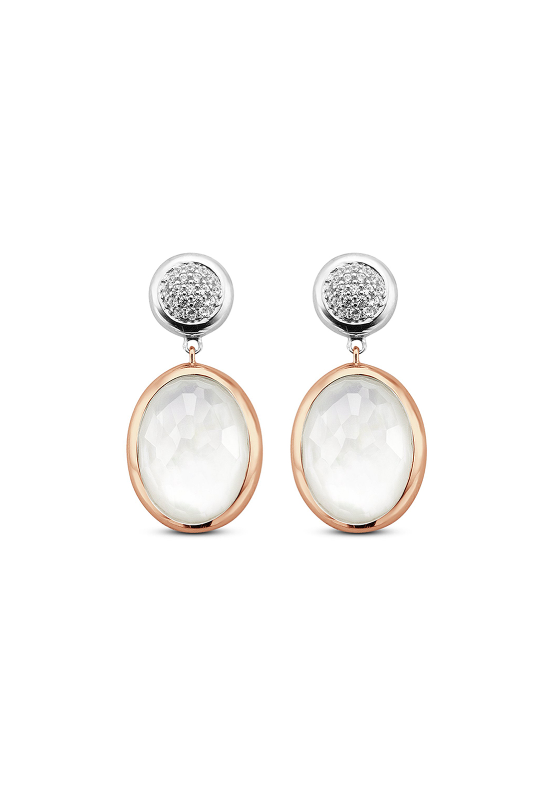 Ti Sento Rose Gold Stud Drop Earrings