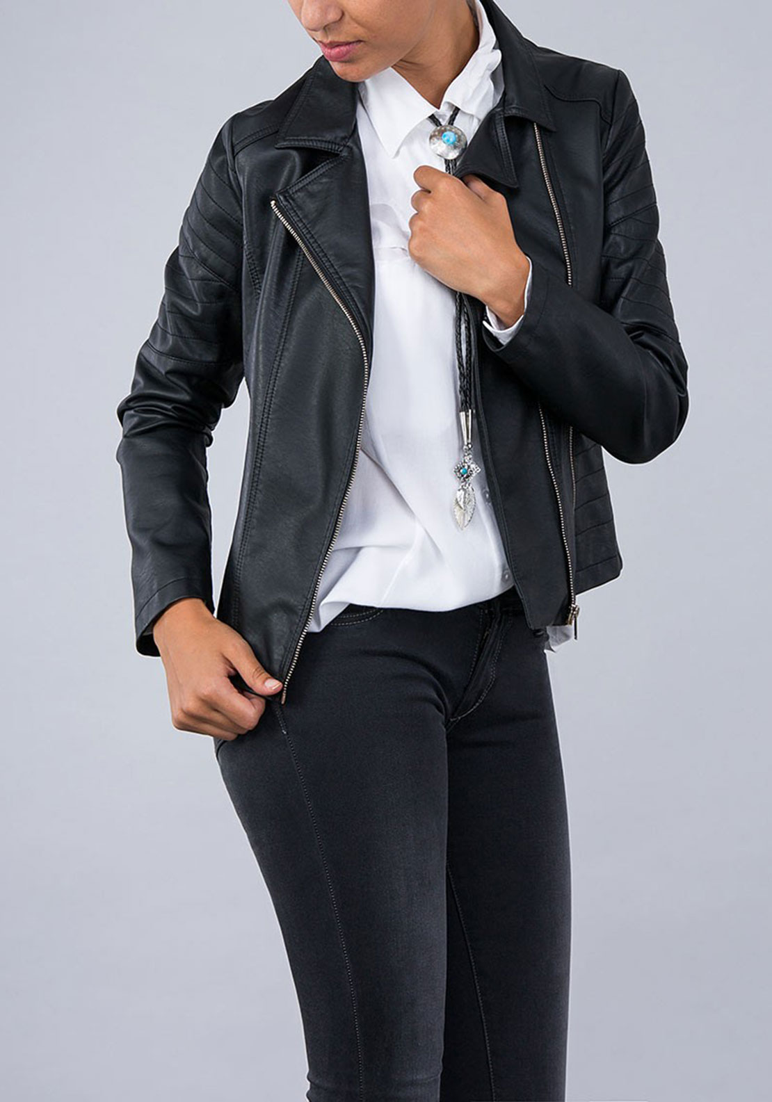 Tiffosi Womens Colleen Biker Jacket, Black
