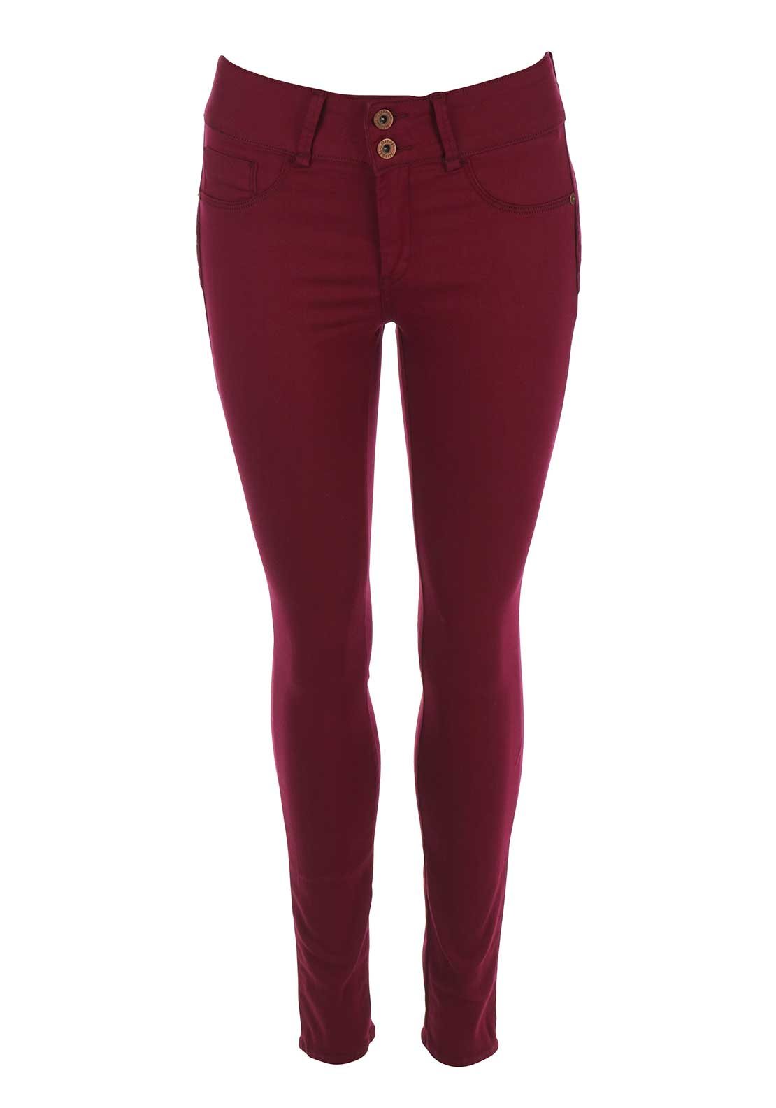 Tiffosi Womens One Size Double Up Skinny Jeans, Dark Red
