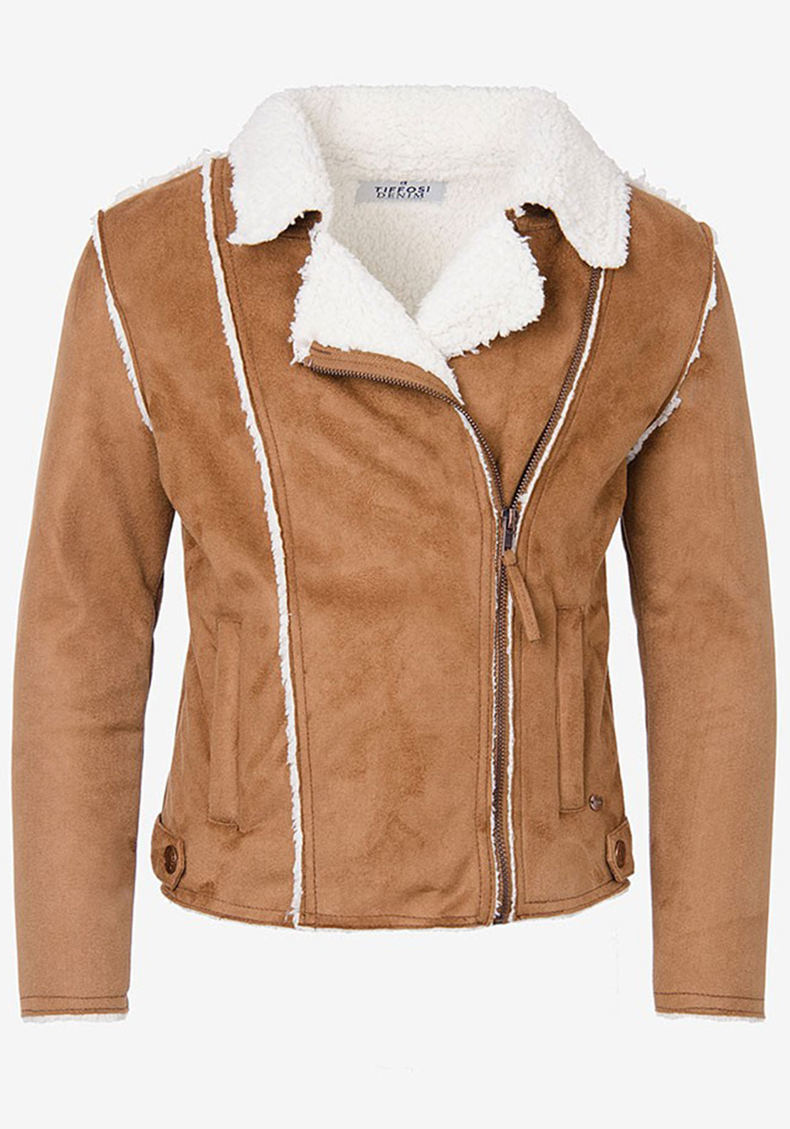 Tiffosi Girls Sot Faux Suede Shearling Jacket, Tan
