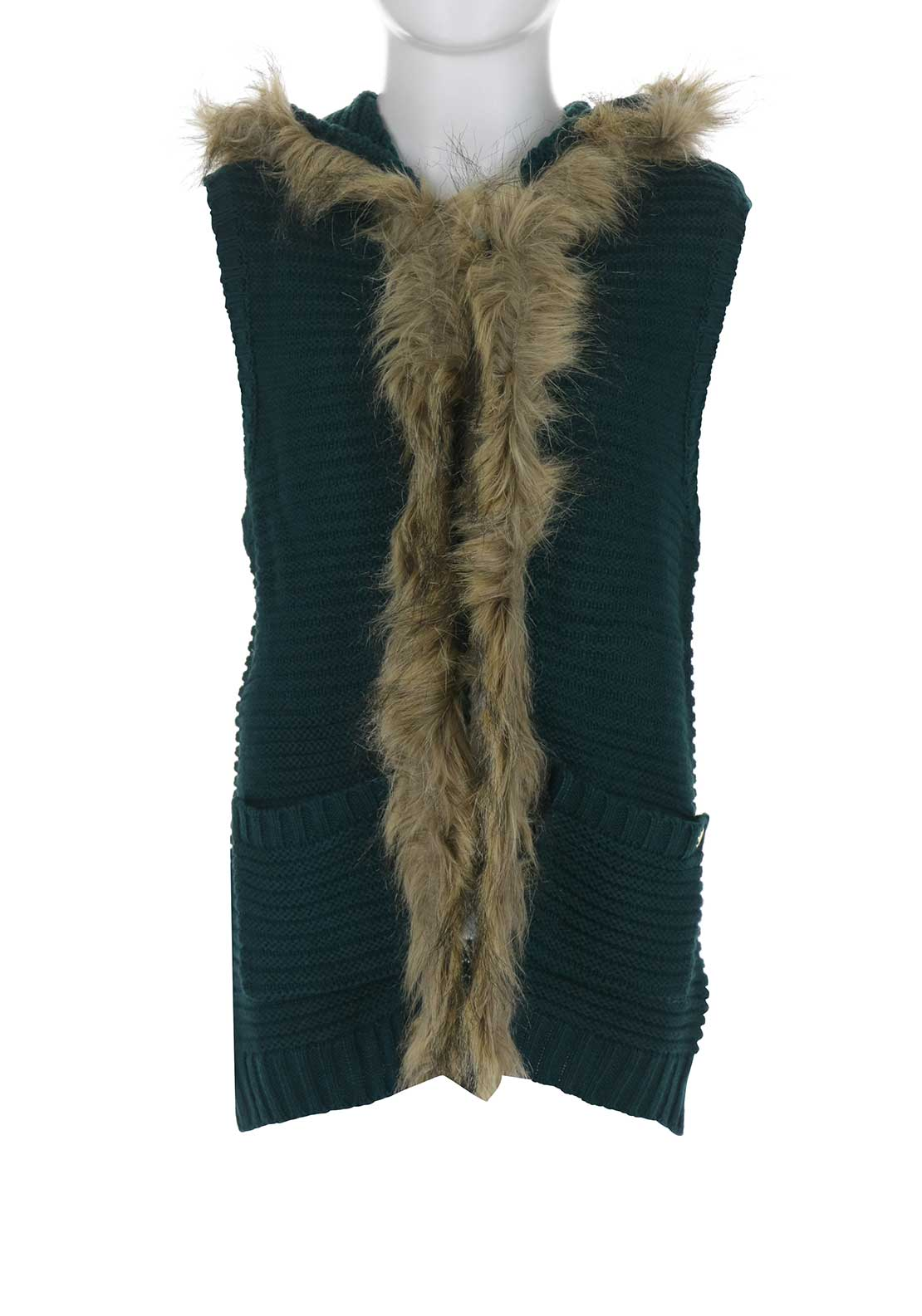 Tiffosi Girls Saty Faux Fur Knitted Gilet, Green