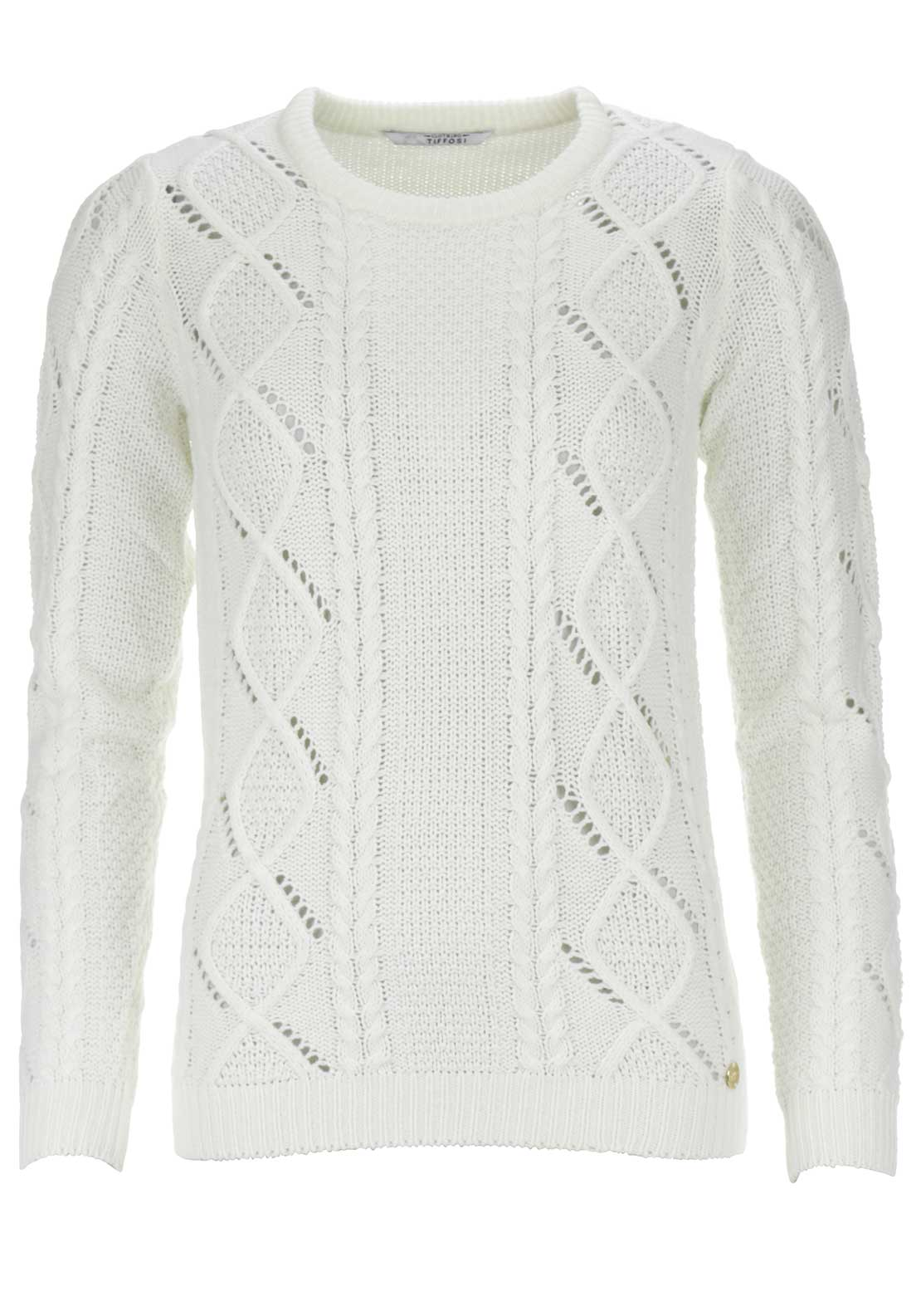 Tiffosi Womens Lela Cable Knit Jumper, Cream