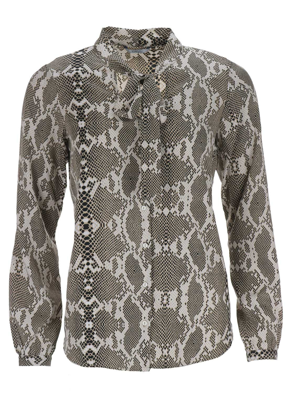 Tiffosi Womens Saanca Reptile Pussybow Blouse, Beige