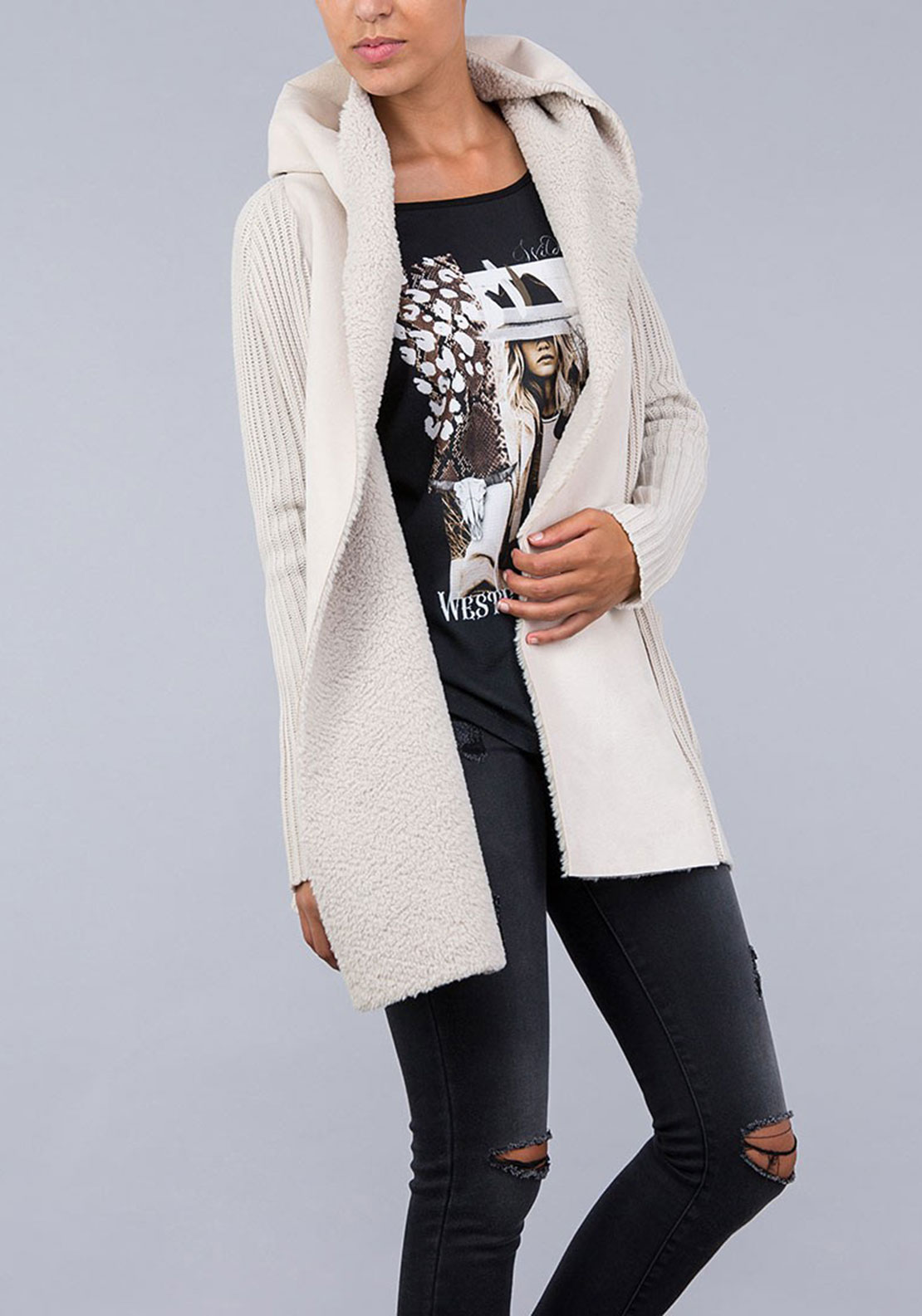 Tiffosi Womens Celia Hooded Knit Cardigan, Cream