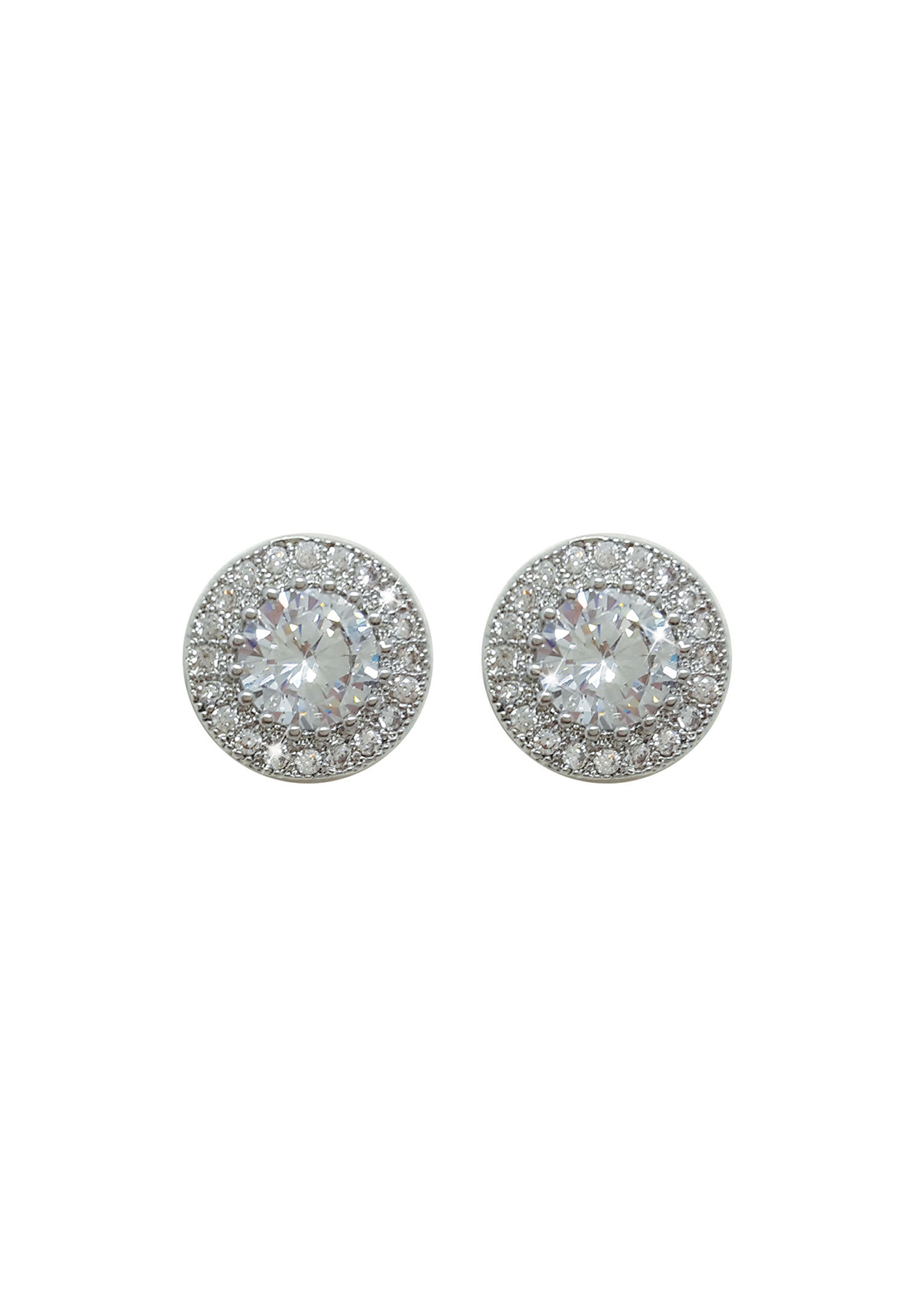 Tipperary Crystal Round Pave Stud Earrings, Silver
