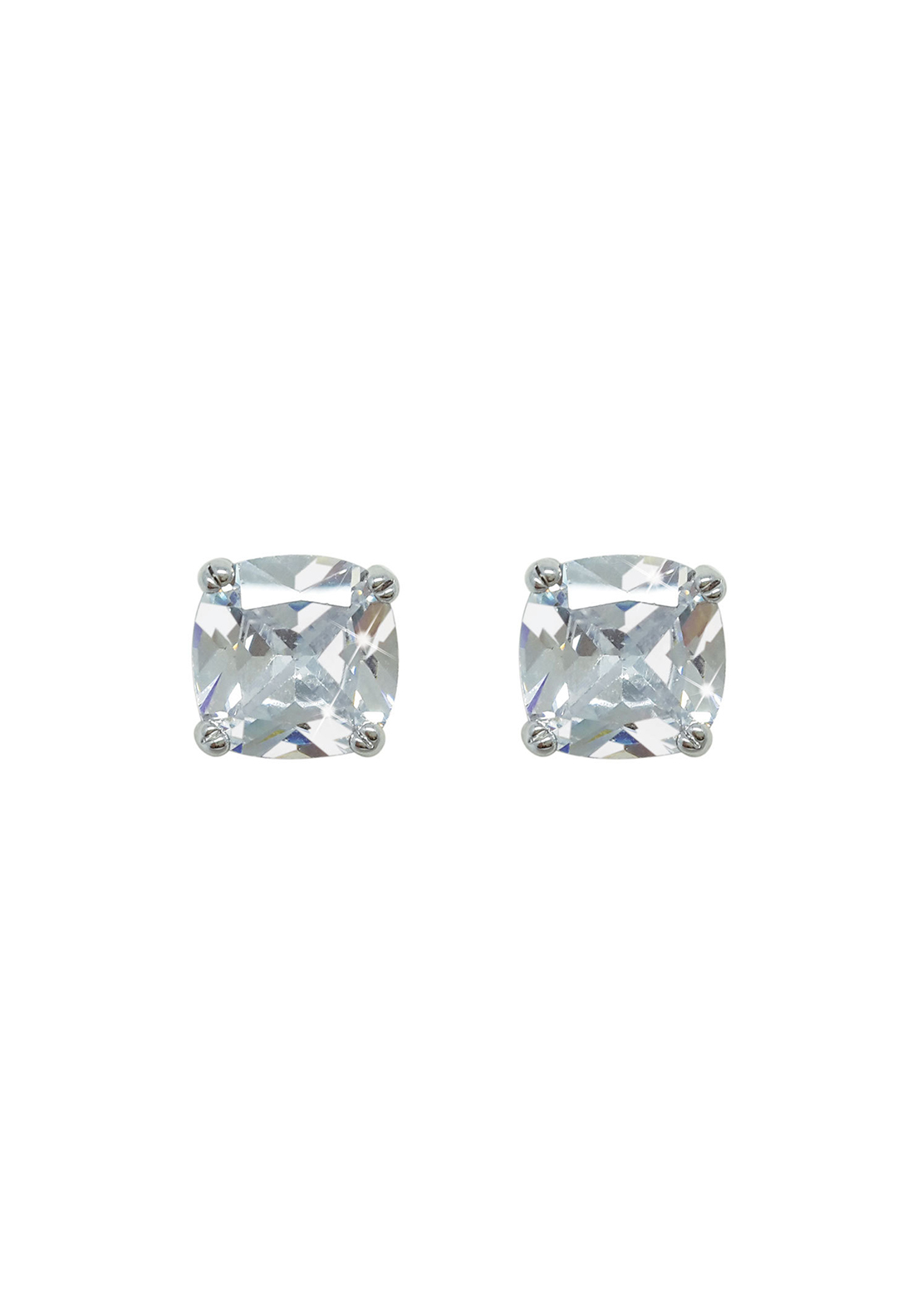 Tipperary Crystal Square 7mm Diamante Stud Earrings, Silver