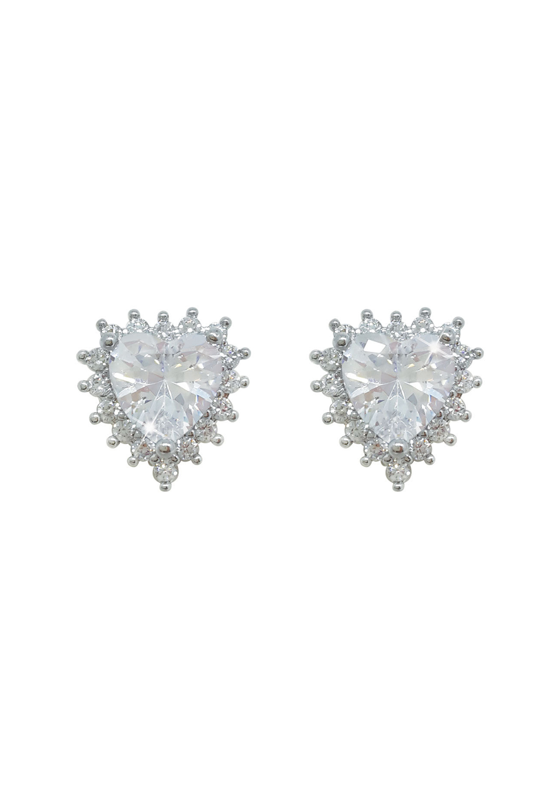 Tipperary Crystal Pave Heart Stud Earrings, Silver