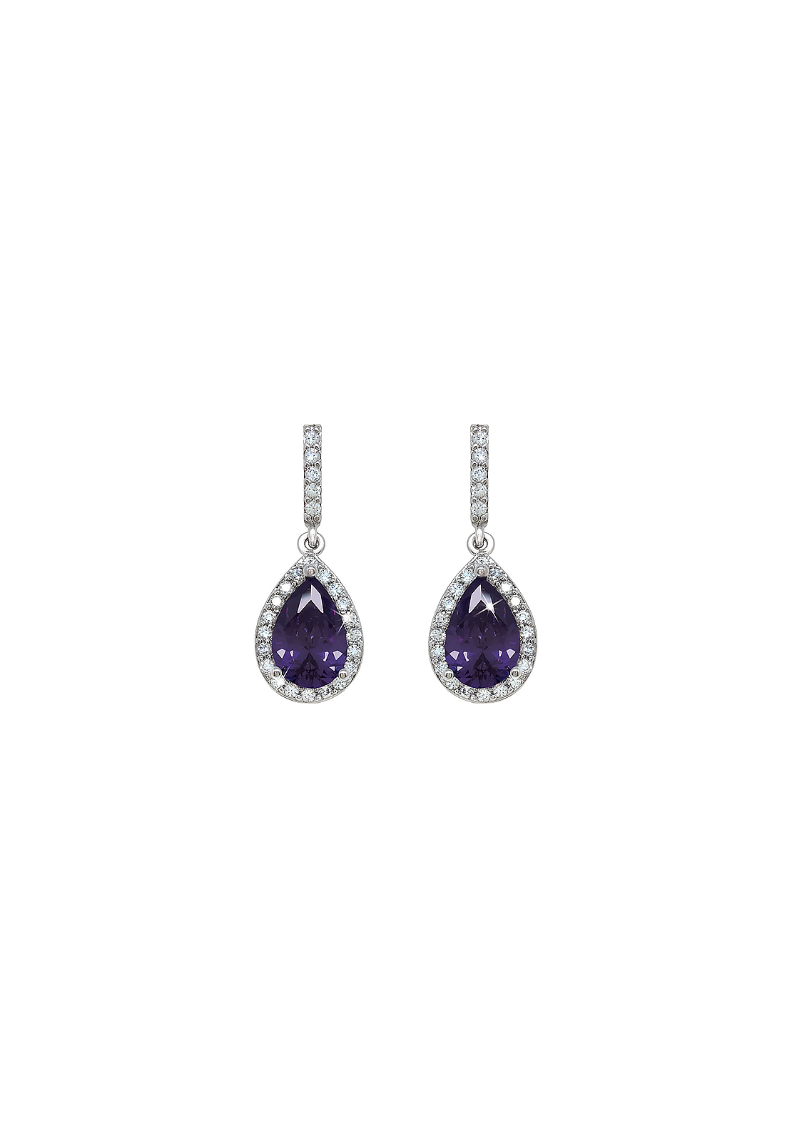 Tipperary Crystal Faux Amythest Pear Shaped Earrings, Silver and Purple