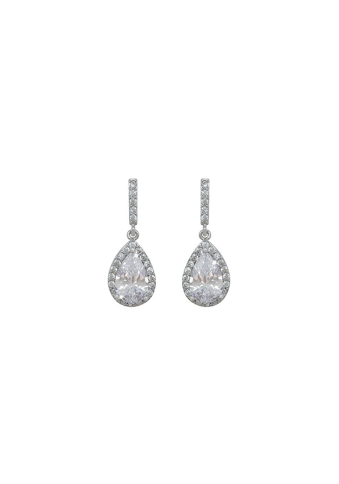 Tipperary Crystal Pear Shaped Drop Earrings, Silver