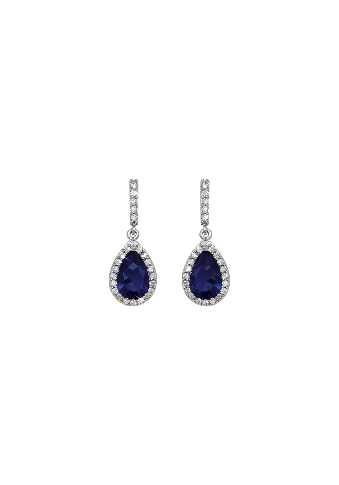 Tipperary Crystal Faux Sapphire Pear Shaped Earrings, Silver and Blue