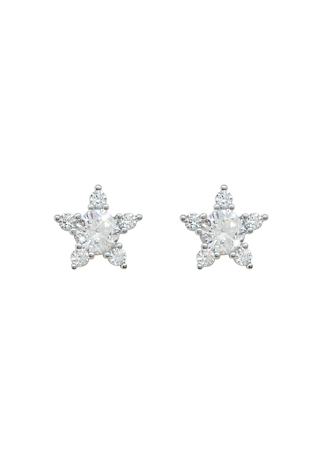 Tipperary Crystal Star Shaped 9mm Diamante Stud Earrings, Silver