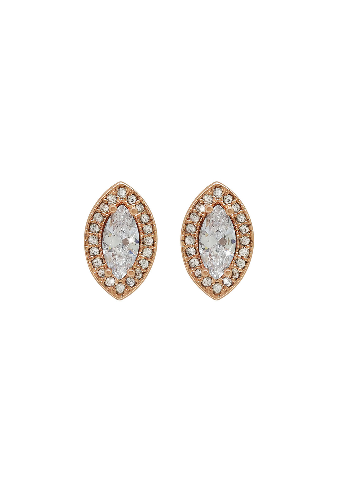 Tipperary Crystal Marquis Cut Stud Earrings, Rose Gold