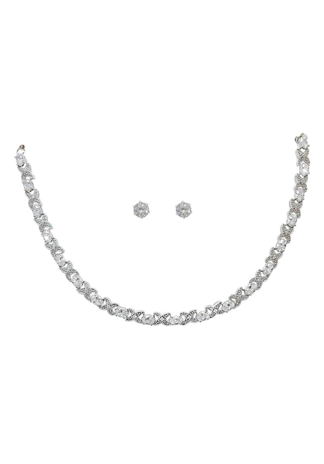 Tipperary Crystal X & O Diamate Necklace & Stud Earring Set, Silver