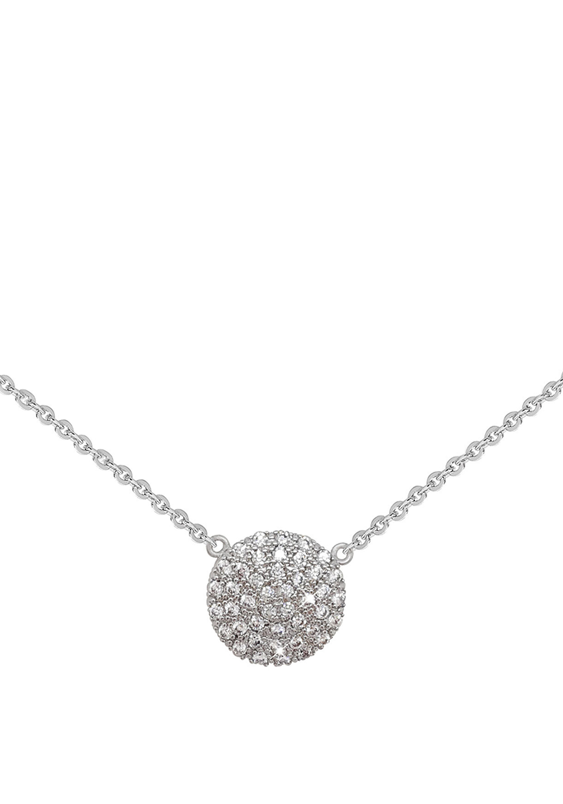 Tipperary Crystal Round Pave Set Pendant Necklace, Silver