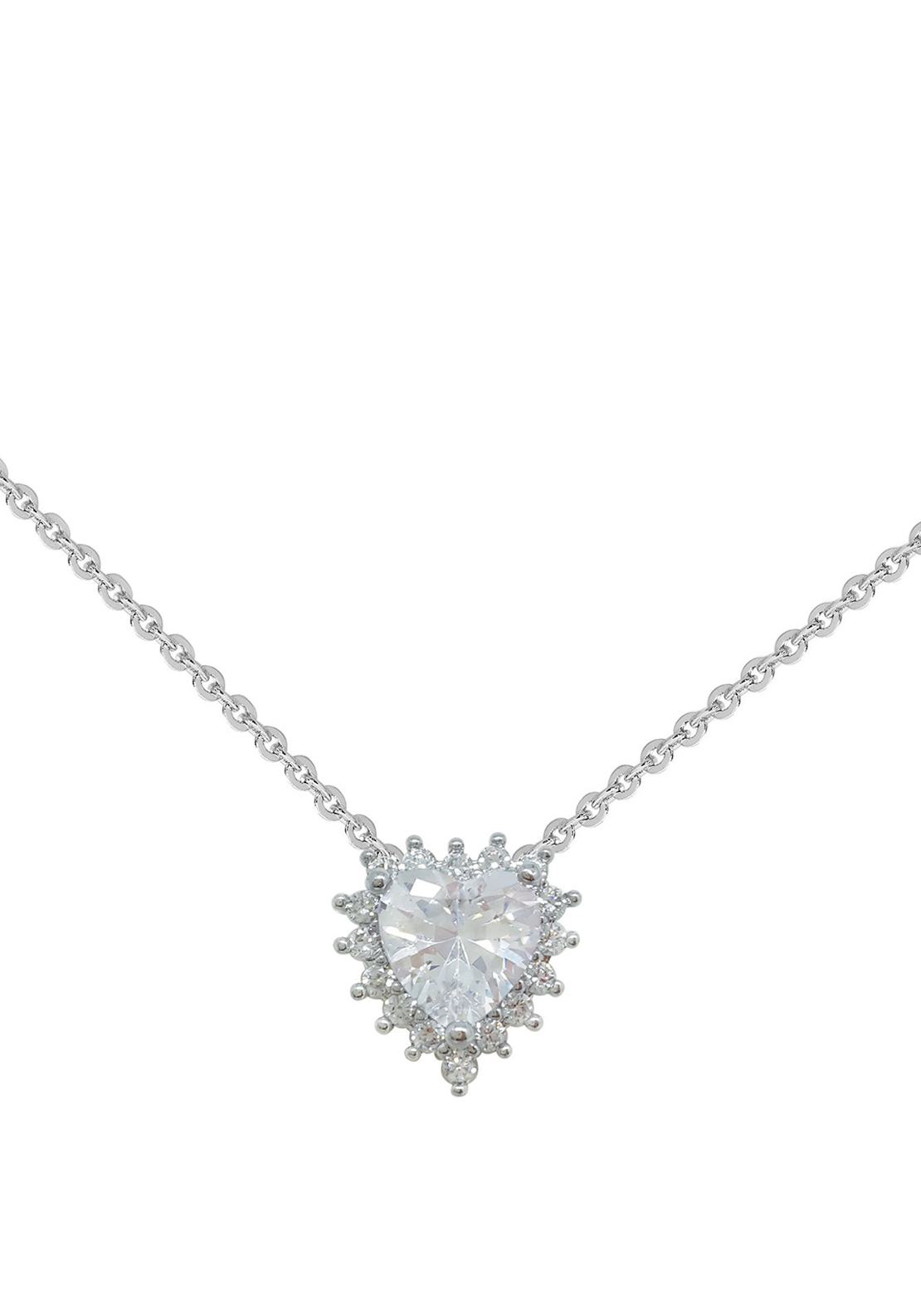 Tipperary Crystal Pave Heart Pendant Necklace, Silver
