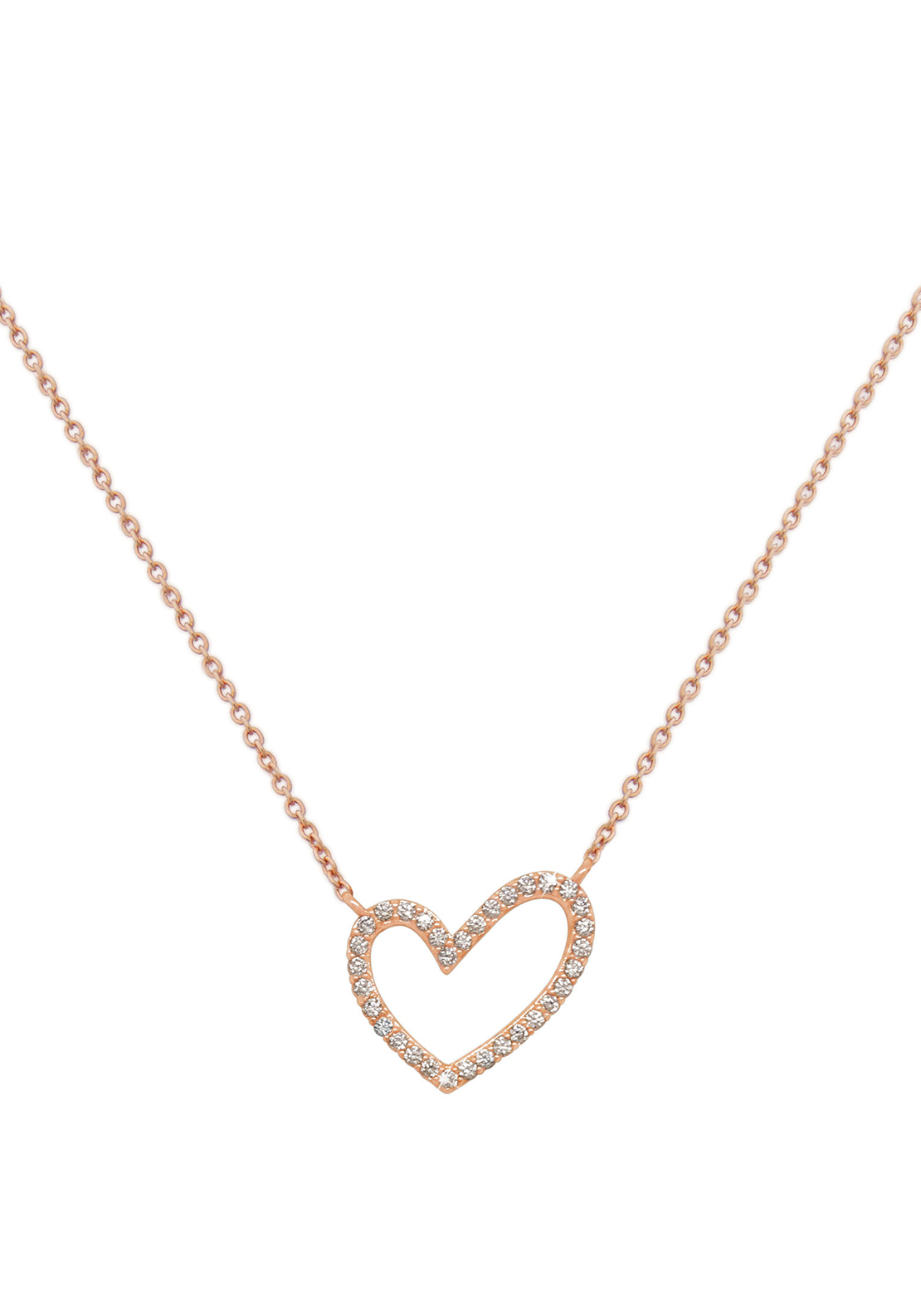 Tipperary Crystal Crystal Heart Pendant, Necklace, Rose Gold