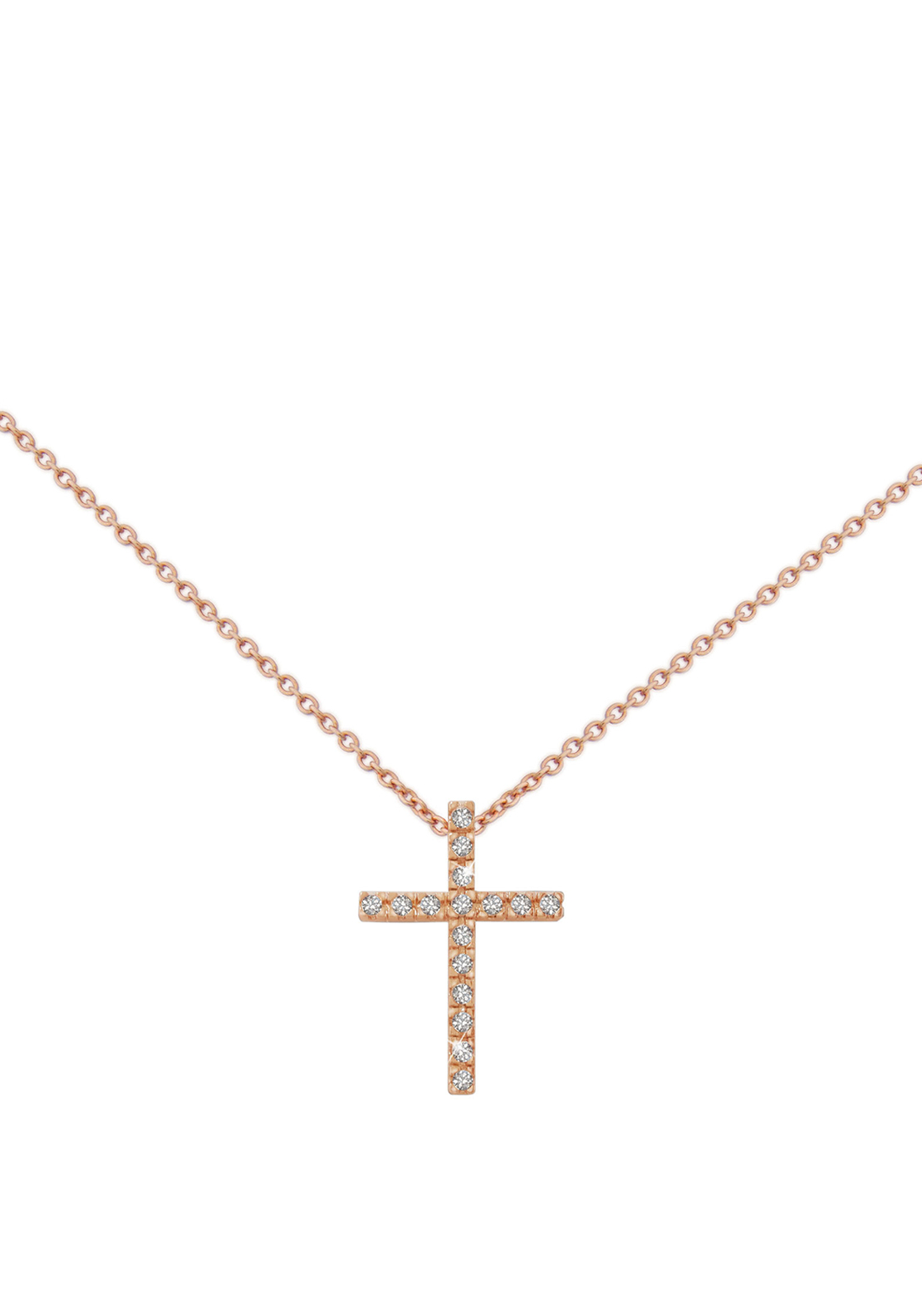 Tipperary Crystal Fine Cross Pendant Necklace, Rose Gold