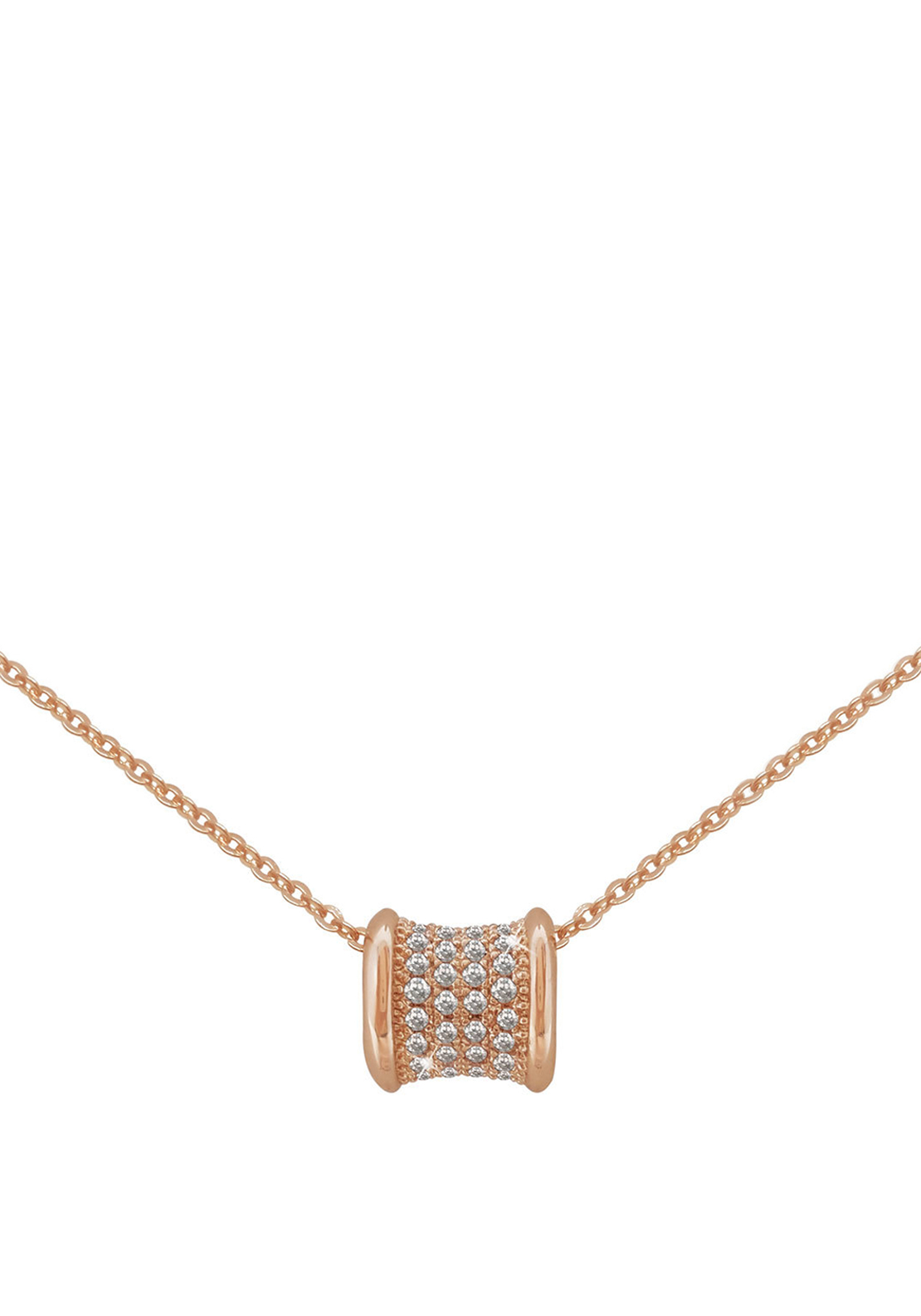 Tipperary Crystal Pave Set Barrel Pendant Necklace, Rose Gold