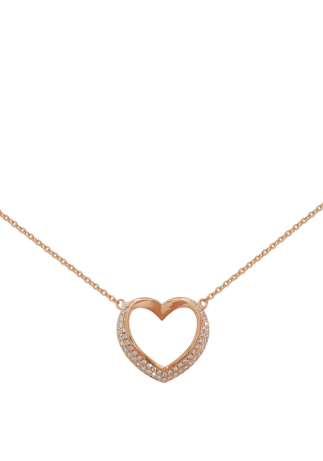 Tipperary Crystal Pave Set Heart Pendant Necklace, Rose Gold