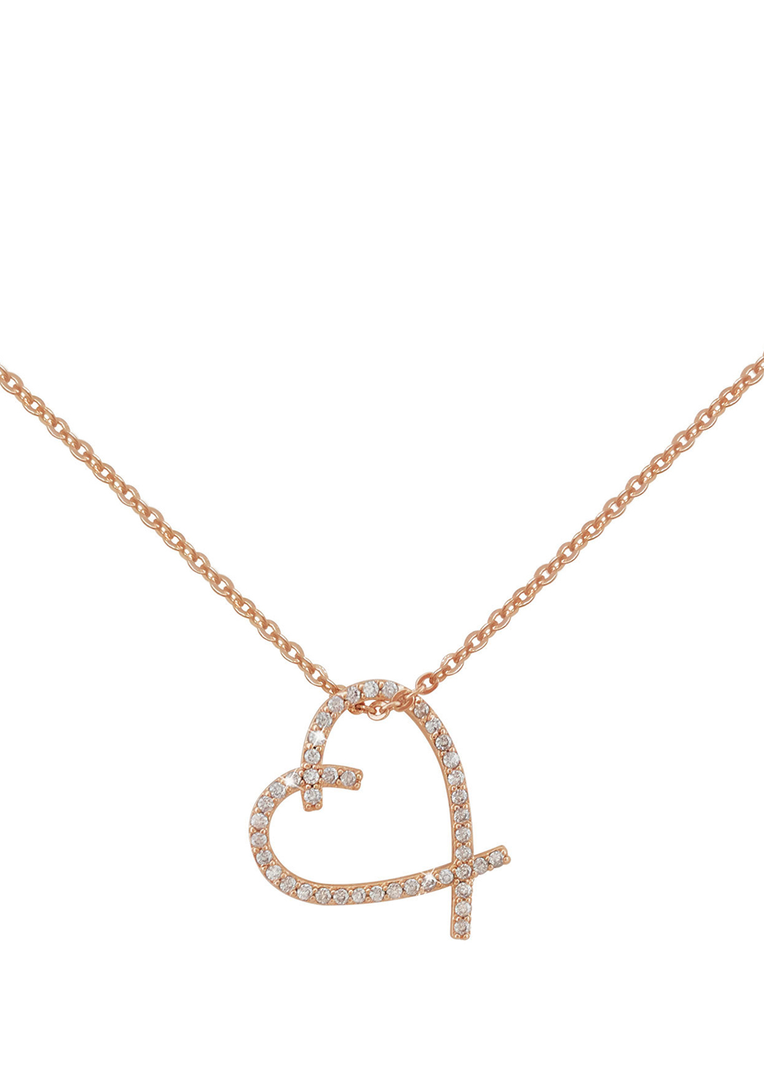 Tipperary Crystal Freehand Heart Pendant Necklace, Rose Gold