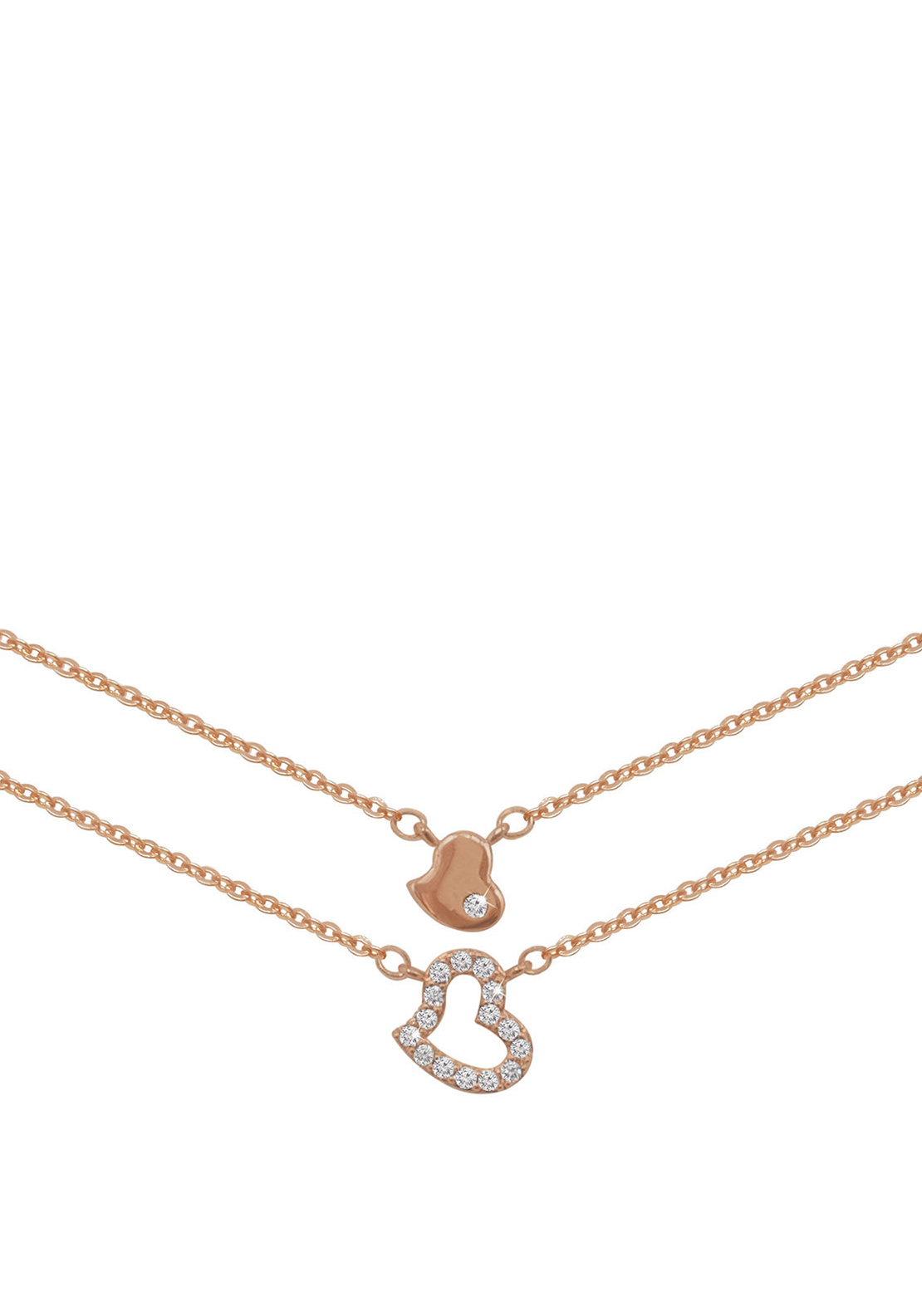 Tipperary Crystal Double Strand Heart Pendant Necklace, Rose Gold