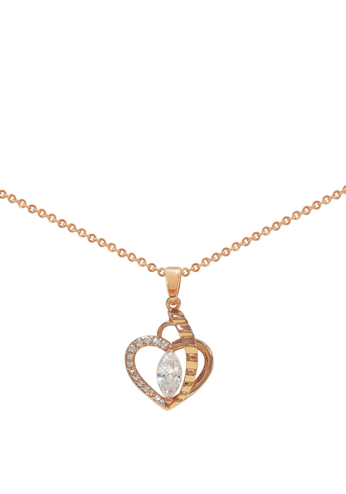 Tipperary Crystal Marquis Crystal Heart Pendant Necklace, Rose Gold