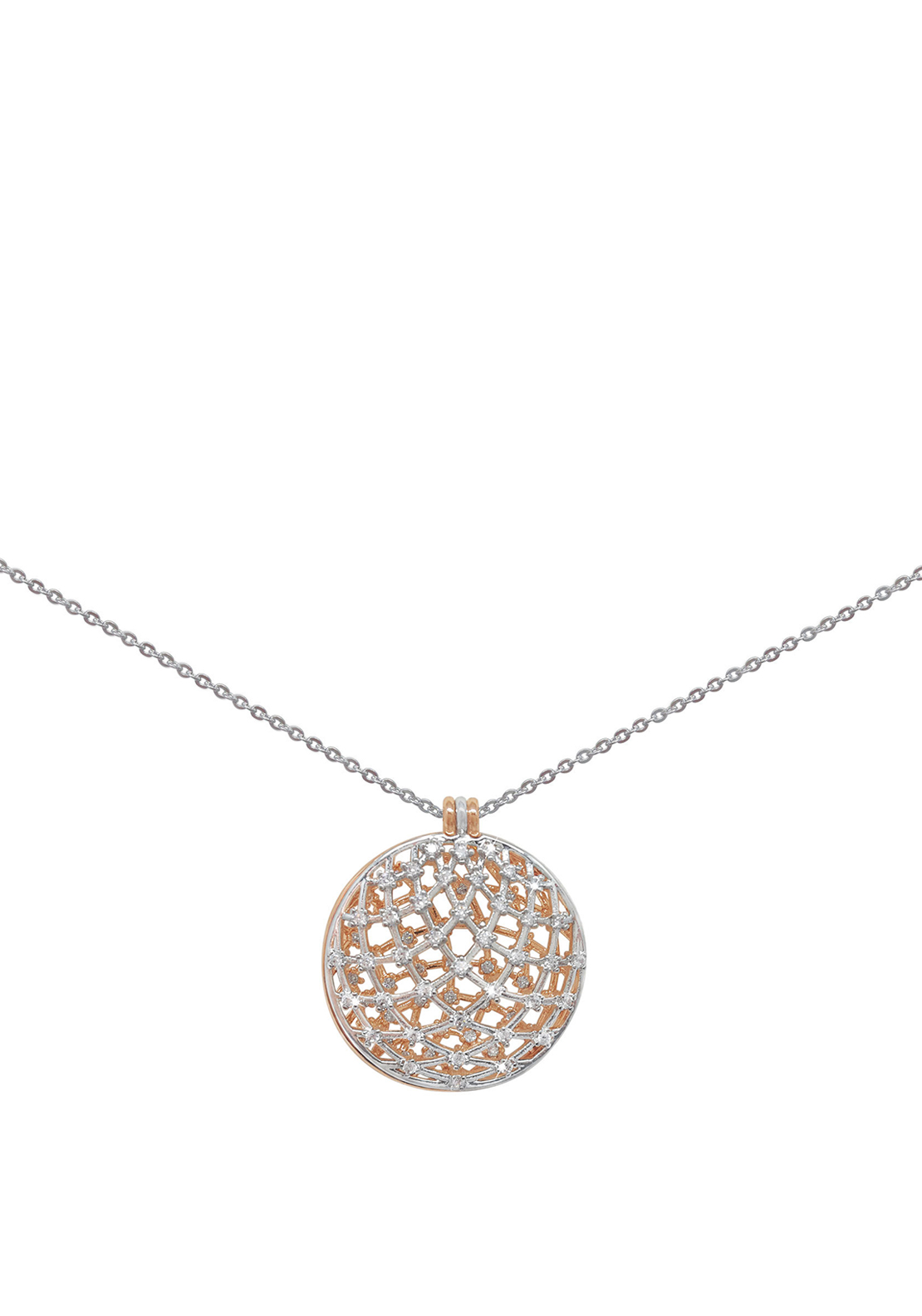 Tipperary Crystal Two Tone Dome Pendant Necklace, Silver