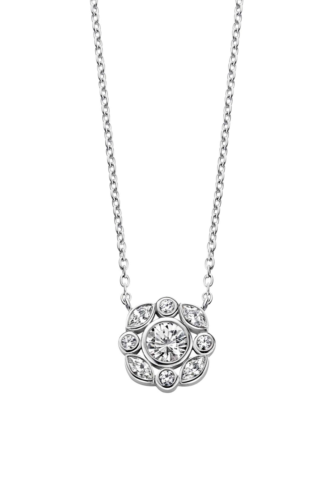 Ti Sento Milano Chain with Flower Style Zirconia Pendant