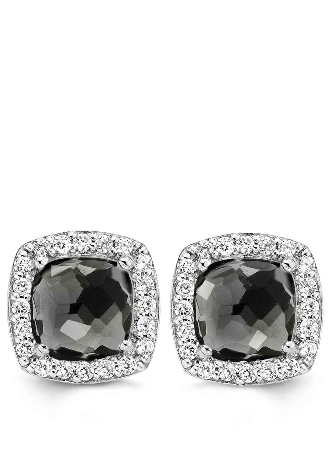 Ti Sento Milano Earring with Square Black Stone Set with Crystal
