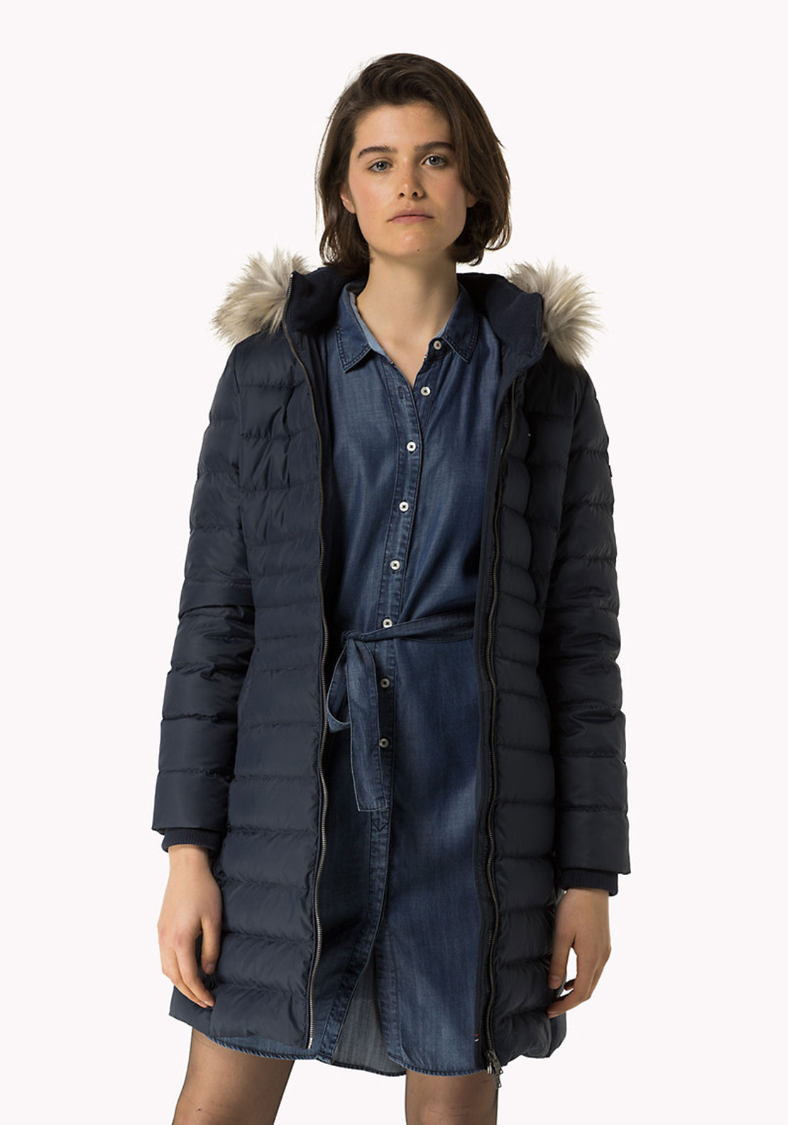 Tommy Hilfiger Womens Down Quilted Coat, Navy