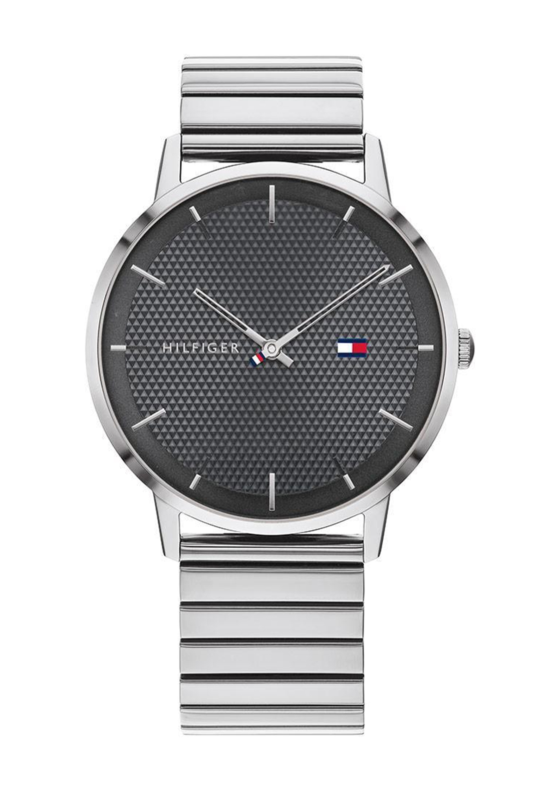 Tommy Hilfiger Mens Charcoal Dial Watch, Silver
