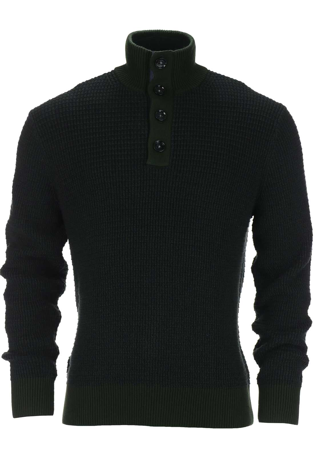 Tommy Hilfiger Mens Tylor Button Mock Neck Textured Knit, Green